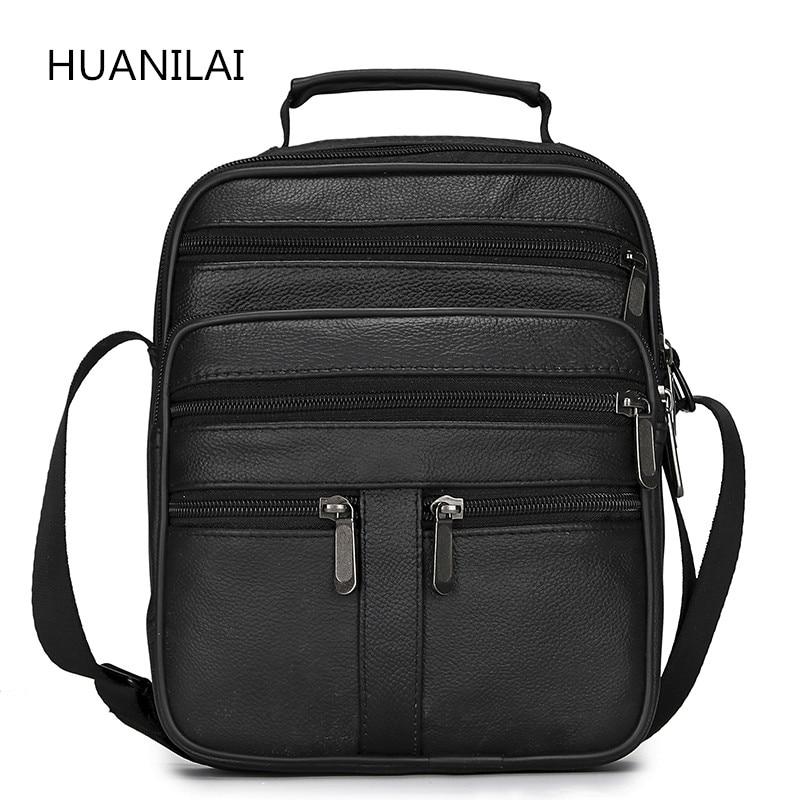 HUANILAI  Men Genuine Leather Bags Messenger Bag Men Shoulder Bag  Crossbody Bags Black Retro Multifunction Handbags TY008
