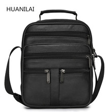 HUANILAI  Men Genuine Leather Bags Messenger Bag Shoulder Crossbody Black Retro Multifunction Handbags TY008