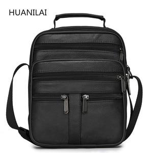 Image 1 - HUANILAI  Men Genuine Leather Bags Messenger Bag Men Shoulder Bag  Crossbody Bags Black Retro Multifunction Handbags TY008