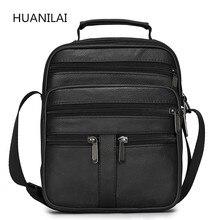 HUANILAI الرجال حقائب جلدية حقيقية حقيبة ساعي حقيبة الكتف للرجال حقائب كروسبودي الأسود الرجعية متعددة الوظائف حقائب TY008