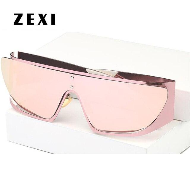 da577eb631e24 ZEXI Fashion Luxury Brand Sunglasses Women Oversized Steampunk Goggles Kim  Kardashian Rose Gold Anti-wind Glasses DF0085