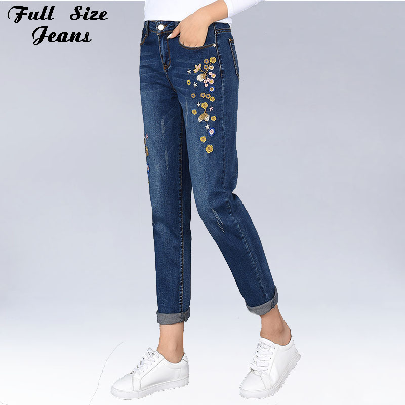 Spring Summer Korean By High Waist Plus Size Embroidery Nine Harem Jeans 4Xl 5Xl 7Xl Large Size Loose Denim Capris lole капри lsw1349 lively capris xl blue corn