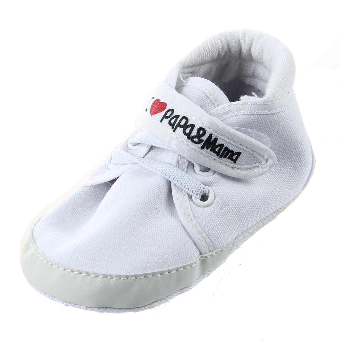 Newborn Infant Baby I Love Papa Mama Soft Sole Crip Sport Shoes Sneakers Casual 9~12 Months 13cm white