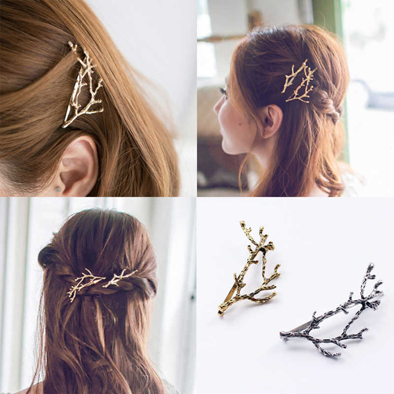 1 pc Silver Gold Fashion Leaves Shape Girls Lady Hair Clips Metal Branch Hair Pins Clip Styling Tools Makeup Hair Accessories