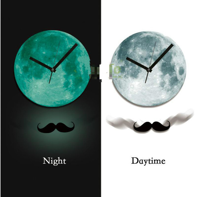 30cm wall sticker creative wall clock moonlight sticker glow in the