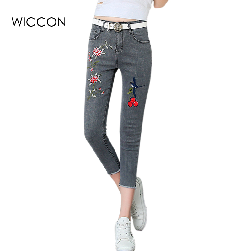 Flower embroidery jeans female grey denim casual pants capris 2017 Summer Pockets straight skinny jeans women bottom  WICCON flower embroidery jeans female white casual pants capris spring summer pockets straight jeans women bottom pu patchwork trousers