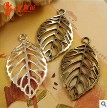 A1203 free shipping 60pcs/bag size 44*26mm hollow leaf Antique silver&bronze diy pendant Jewelry finding for chain accessories