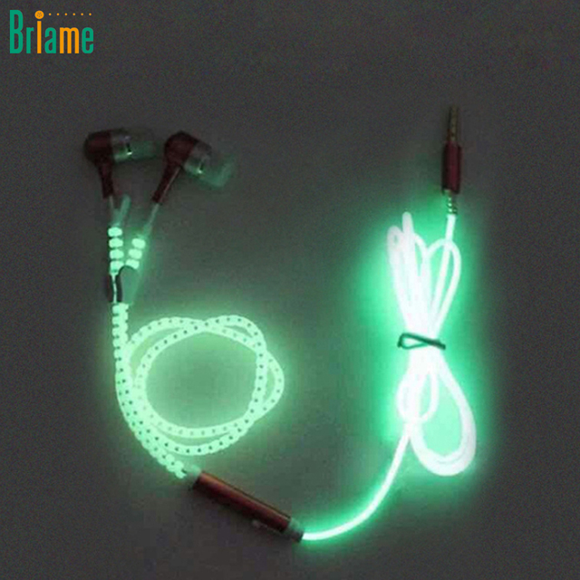 Headset Earbuds Glow In The Dark Headphone For Iphone Samsung Xiaomi MP3 With Mic Glowing Earphone Luminous Light Metal Zipper
