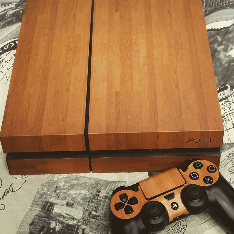 For ps4 sticker slim wood grain vinyl skin sticker decal 2 free controller skins