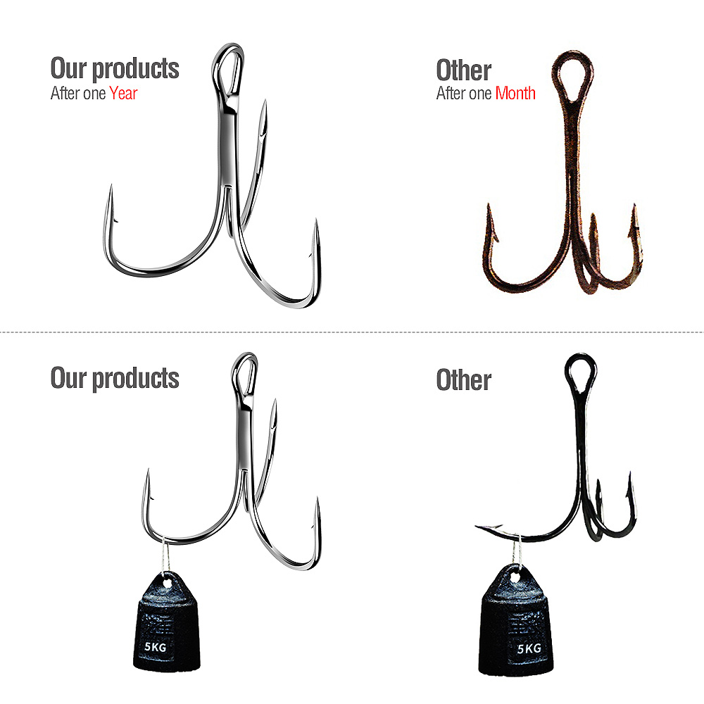 DONQL 20pcs Box Treble Fishing Hooks Set Carbon Steel Barbed Fishhooks Super Sharp Triple Hooks Sea Tackle Accessories          (18)