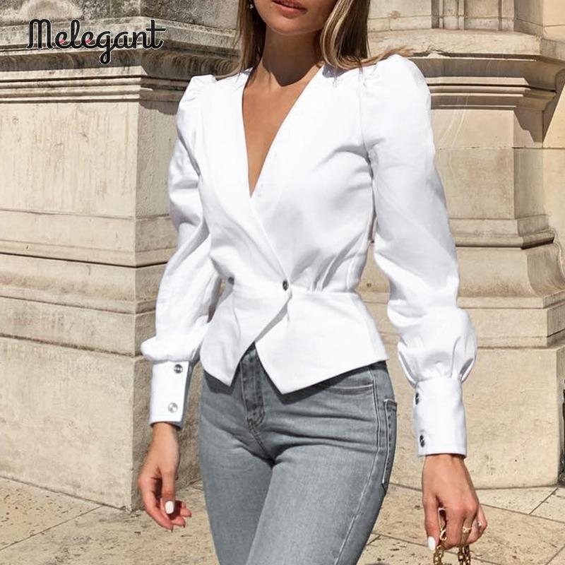 Melegant Retro Sexy Deep V Women Blouse Shirts Long Sleeve Autumn Winter 2019 Vintage Solid White Blouses Shirts Blusa Mujer