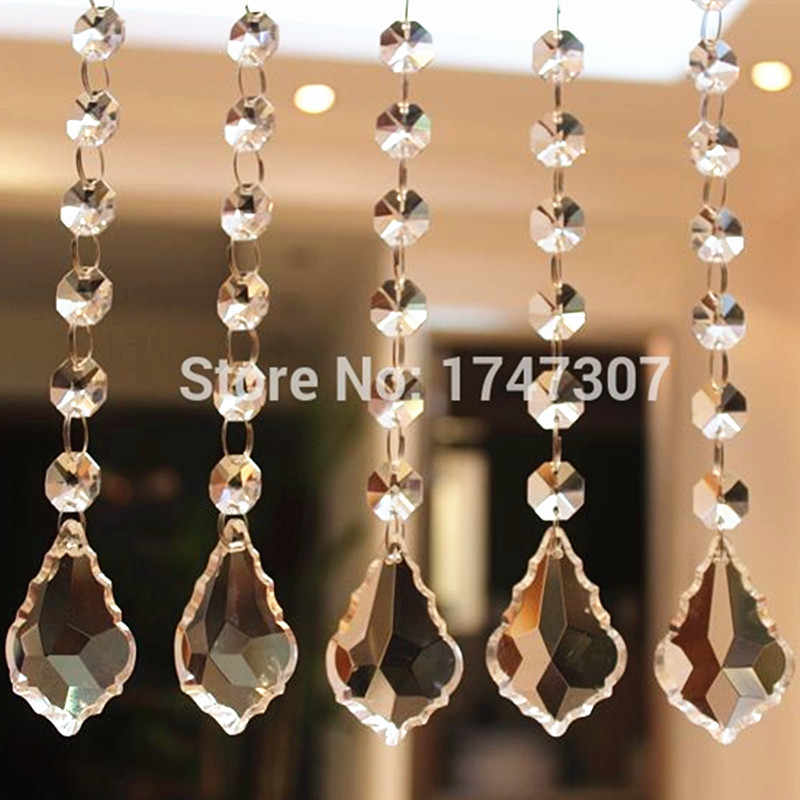 30PCS/lot 150MM (H) Crystal Maple leaf with octagon beads Garlands Strand Clear Glass Crystal Chandelier Pendants,