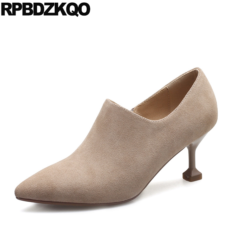 Pointed Toe Fall Short Female Suede Women Boots Winter 2017 British Shoes Beige Booties Stiletto Ankle Fur High Heel New Fashion short boots woman the fall of 2017 a new restoring ancient ways british wind thick boots bottom students with martin boots