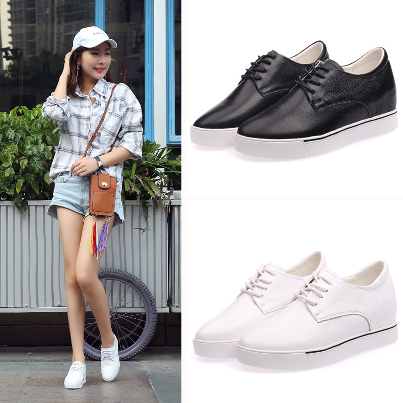 Womens shoes 2018 autumn and winter new first layer leather small white shoes increased with walking shoes A9X1-A9X5Womens shoes 2018 autumn and winter new first layer leather small white shoes increased with walking shoes A9X1-A9X5