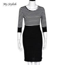 Frauen Kleid 2017 Neue Mode Frauen Dame Schlank Striped Bodycon Party Cocktail Clubwear Bleistift Kleid Dezember 6
