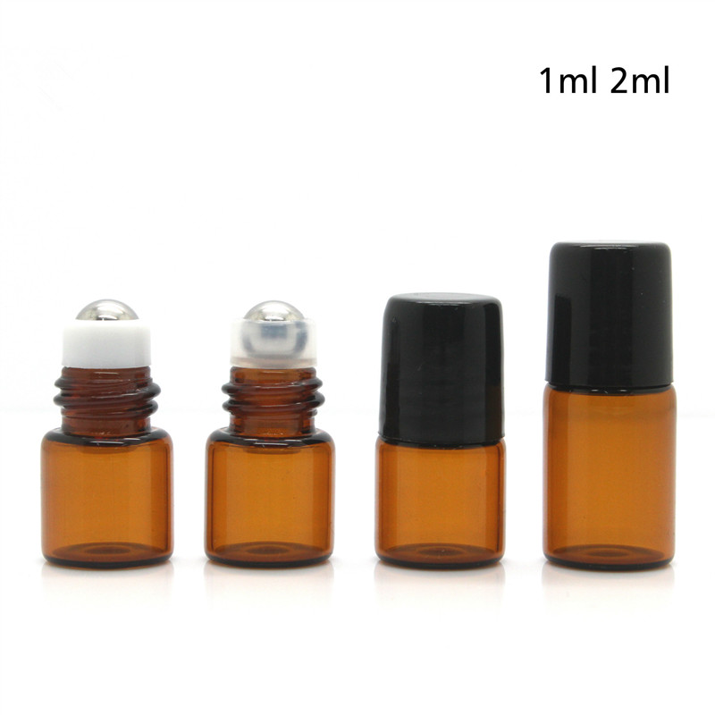 DHL free 500pcs lot 1ml 2ml Metal Roller On Bottles For Essential Oils Amber Mini Glass