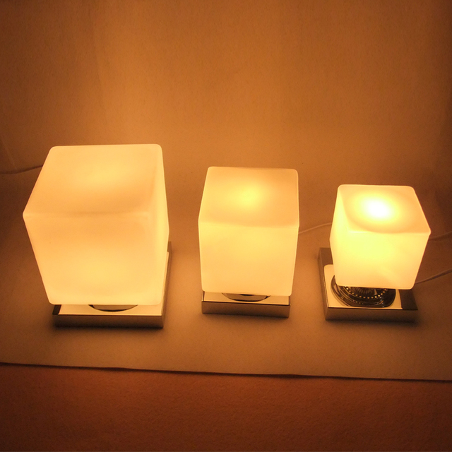 Original creative Table Lamps personality square lamp touch Japanese white  glass desk lamp bedside bedroom desk