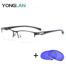 YONG LAN Semi-Rimless Men Metal Glasses Frame Square Photochromism oculos de grau masculino Assembly Prescription 2pcs Lens