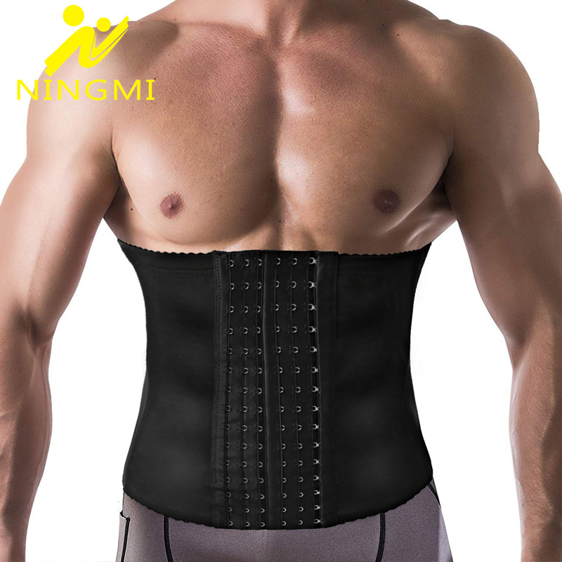 NINGMI Slim Waist Trainer For Men Body Shaper Modeling Belt Fat Compression Strap With 6 Hooks Shapewear Cincher Slimming Corset