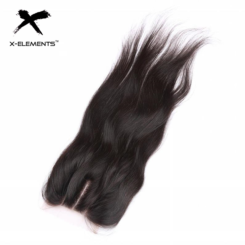 X-Elements Hair 4*4 Closure 1 Piece Extensions Peruvian  Human - Human Hair (For Black)