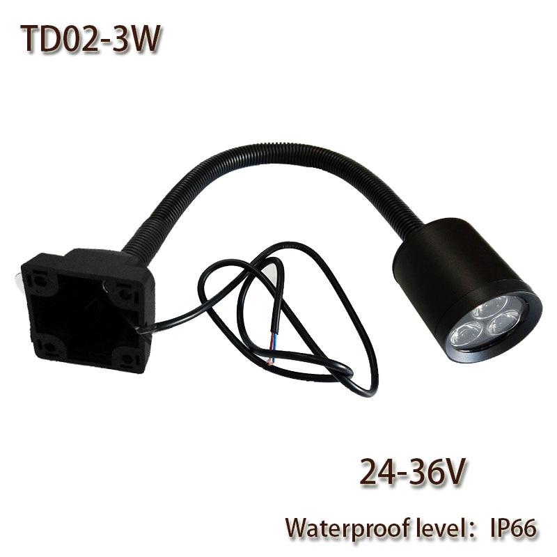 HNTD 3W DC24V TD02 LED mīkstā stieņa lampa 4 skrūvju fiksācija Ūdensnecaurlaidīgs IP66 CNC darba gaismas apgaismojums LED spuldzes Bezmaksas piegāde