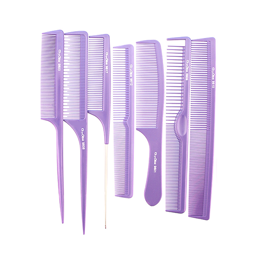 7 pcs / lot Purple Professional Barber Comb Set Antistatic Hairdressing Cutting Comb Untuk pendandan rambut Heat Resistant Carbon Comb