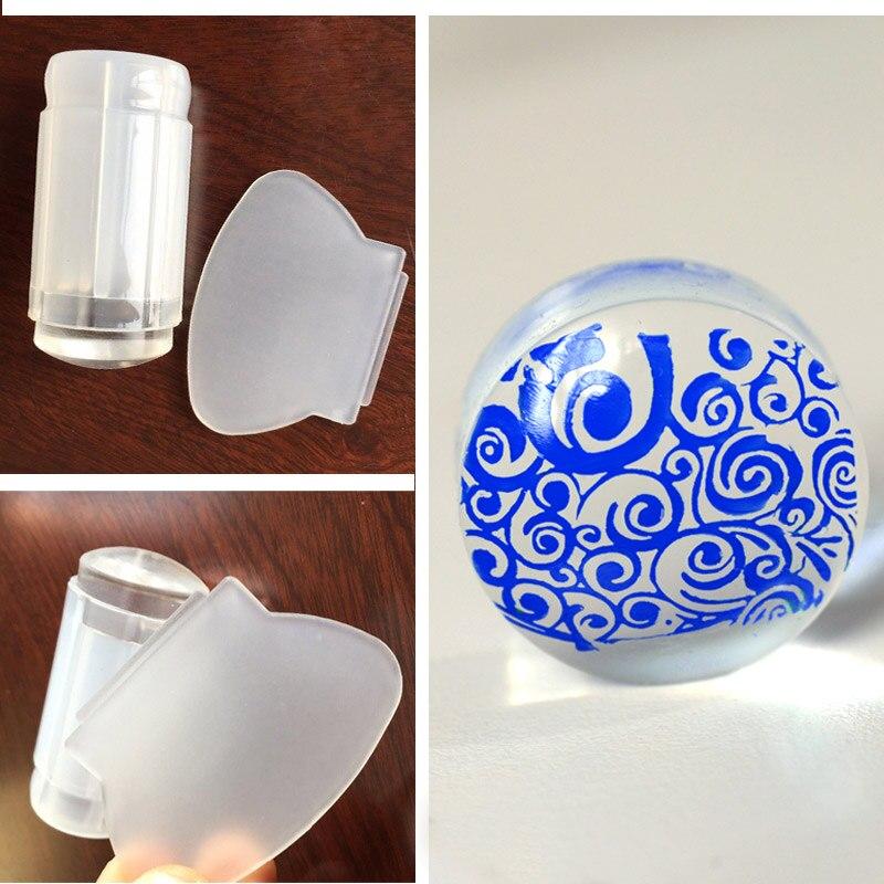 1 unids Nuevo Lechoso Blanco Jelly Stamper 2.8 cm Estampado de Uñas Transparente Sello Scraper Polaco Transferencia de Impresión de Uñas Stamper Herramientas