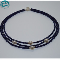 Уникальный жемчуг ювелирный магазин AAA высокое качество натуральный пресноводный жемчуг ожерелье для женщин 3 ряда горный хрусталь голубые