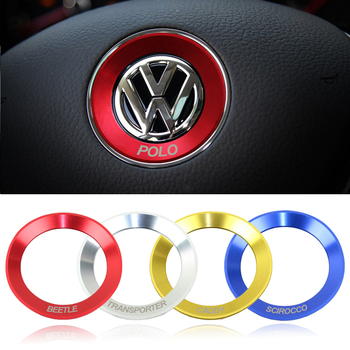 Car steering wheel decoration circle ring sticker covers styling for Volkswagen VW R line Golf 5 6 Polo Passat Jetta GTI Tiguan circle