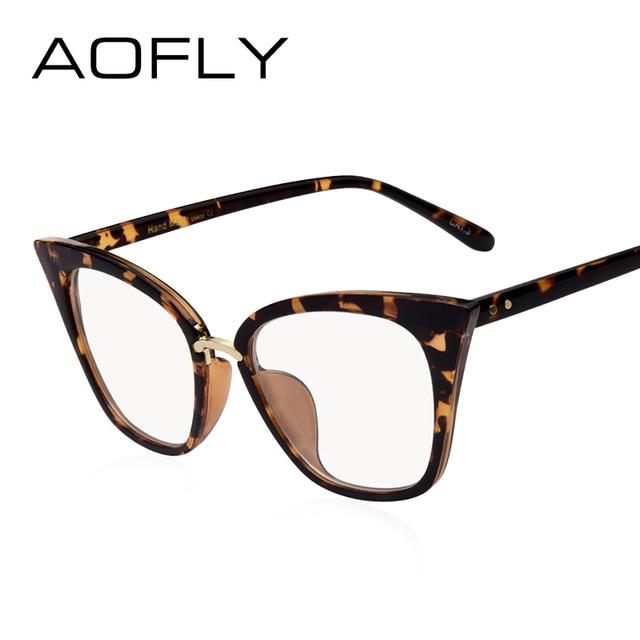Brillen Design | Aofly Marke Design Frauen Plain Glaser Katze Brillen Rahmen Klare