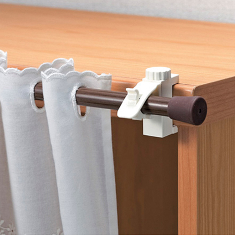 2pcs Curtain Rods Bracket Hanger Hook Rod Support Clamp