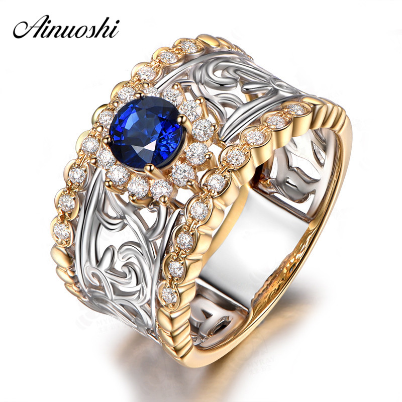AINUOSHI 0 8 Carat Round Cut Blue Sona Halo Rings 925 Sterling Silver White Yellow Gold