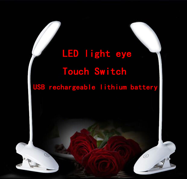 Clip type LED reading touch  light lamp  USB charging  Adjustable  highlighting the eyecare  Desk Table Lamp