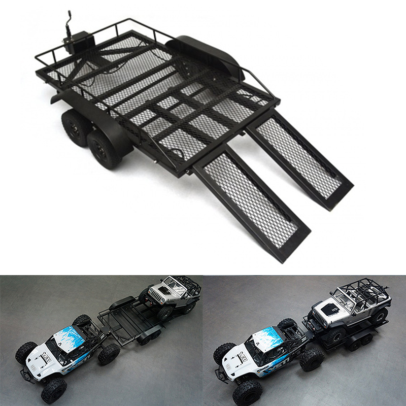 1:10 High Quality Heavy Duty Metal Trailer for 1/10 1/8 RC Rock Crawler Truck Axial SCX10 RC4WD D90