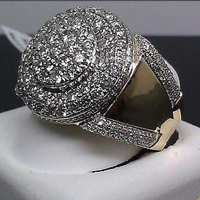 Hip Hop Große Männer Ring Edelstahl Stein Geometrische Runde Iced Out Finger Ringe für Frauen Gold Farbe männer ringe Z4M081