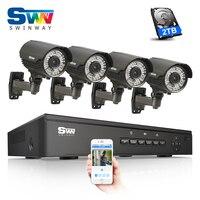 4CH POE NVR CCTV System 2TB HDD Onvif 1080P HD H 264 Varifocal 2 8mm 12mm
