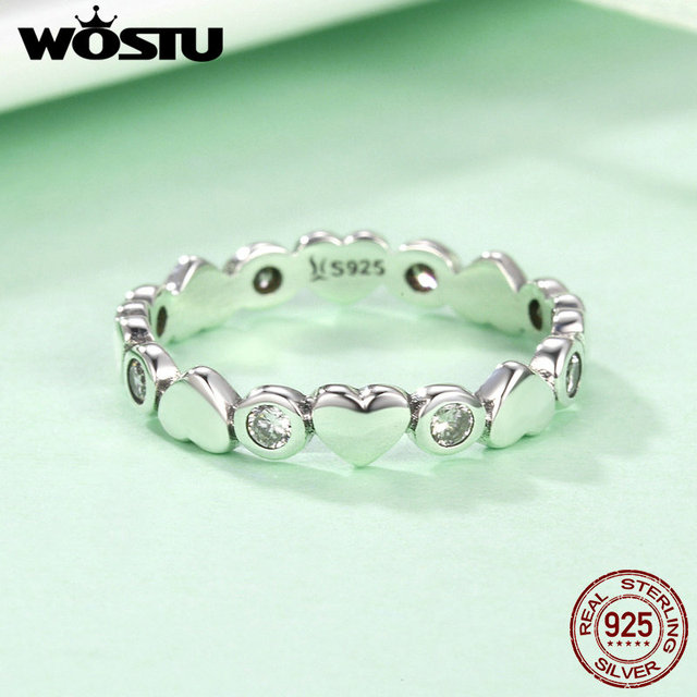 WOSTU Brand New 925 Sterling Silver My Heart Is Bright Stackable Rings For Women Fashion S925 Wedding Jewelry Gift CQR164