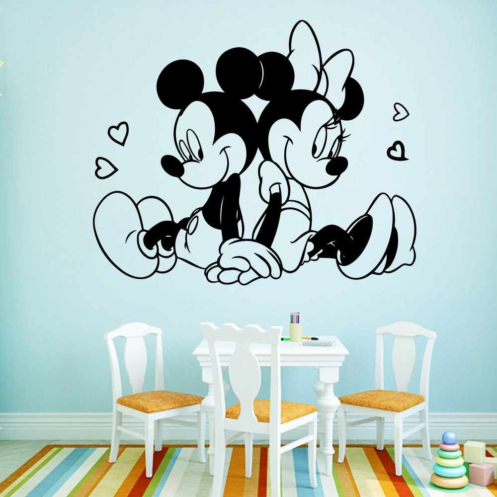 Creative Mickey Mouse Wall Art Decal Wall Sticker Mural For Kids Room Living Room House Decoration House Accessories in Wall Stickers from Home Garden