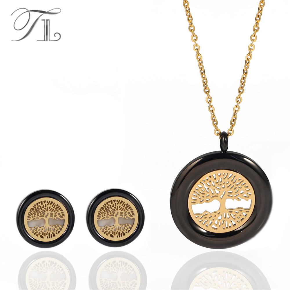 TL Stainless Steel Life Tree Jewelry Sets Rose Gold & Black Color Plated Hollow Life Trees Round Fashion Jewelry Sets For Women tl hot sale life tree ceramic bracelet stainless steel hollow life tree flake white ceramic circle charm bracelet for women gift