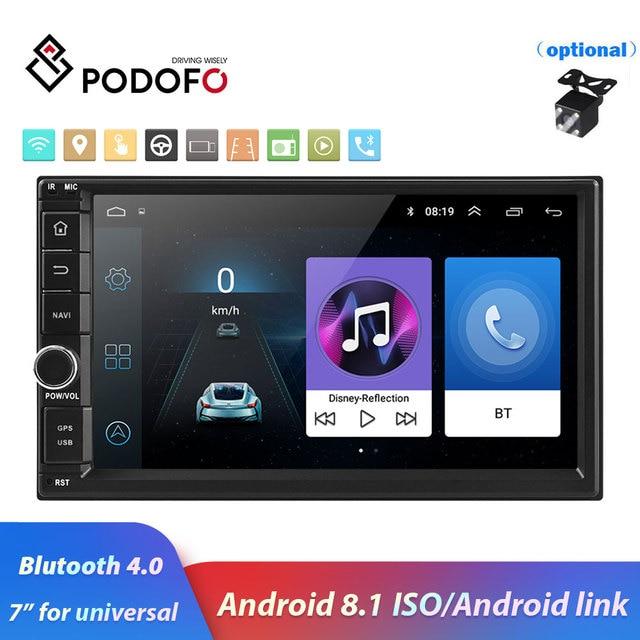 "Podofo 2din 7 ""HD راديو السيارة أندرويد 8.1 سيارة مشغل وسائط متعددة لتحديد المواقع نافي واي فاي ISO أندرويد ميرورلينك 2Din لاستريو السيارة العالمي"