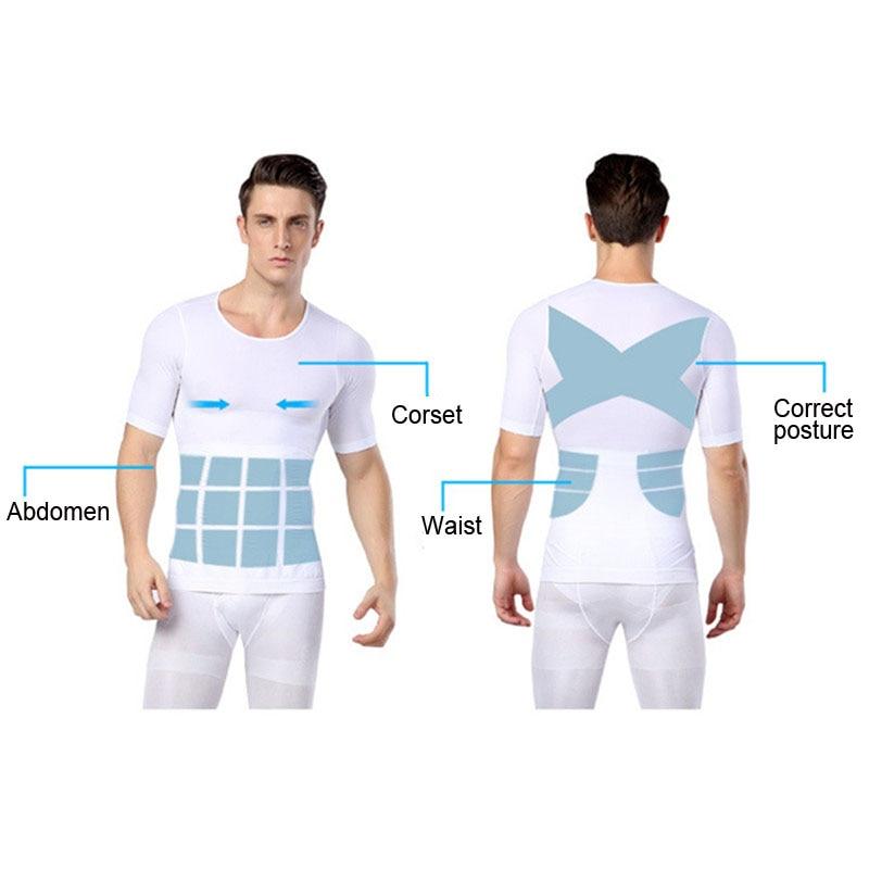 Hot Men Shaper Vest Body Slimming T shirt Male Belt Modeling Strap Tummy Belly Waist Girdle Compression Shirt Shapewear 5