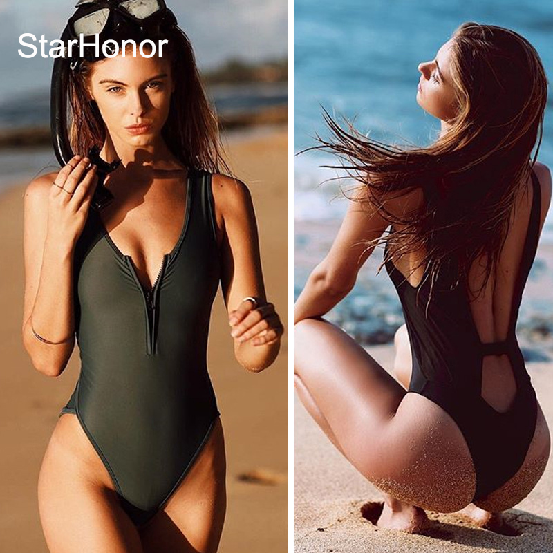StarHonor Woman's zipper Solid One-Piece Suits Swimwear Retro Halter Swimsuit Hollow-Carved Bra Bikinis Set Push Up  Biquini bosch 2608584666