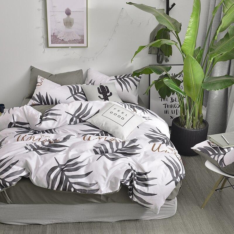 Комплект постельного белья с рисунком папы и мимы, черные листья, принт, 100% хлопок, Королева Размер, пододеяльник, простыня, наволочки