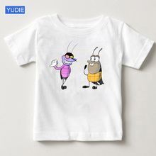 Oggy and The Childrens Cockroaches T-shirt Short-sleeved Toddler Girl Pure Cotton Breathable Summer
