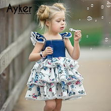 купить Girl Dress Party Wedding Princess Dress Kids Girl Clothes Ball Gown Children Layered Tutu Dress Kids Dresses for Girls дешево