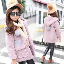 2017 autumn and winter new girls in large children's Korean fashion cartoon trend leisure hooded girls woolen coat