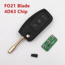 Control remoto clave 433 mhz 4d63 chip para ford fiesta focus mondeo kuga c-max s-max galaxy sin llave entrada fob flip coche controlador