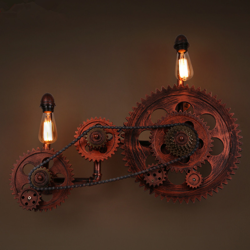 Loft Style Industrial Creative Wood Gear Vintage Wall Light For Home Antique Water Pipe Lamp Bedside Edison Wall Sconce