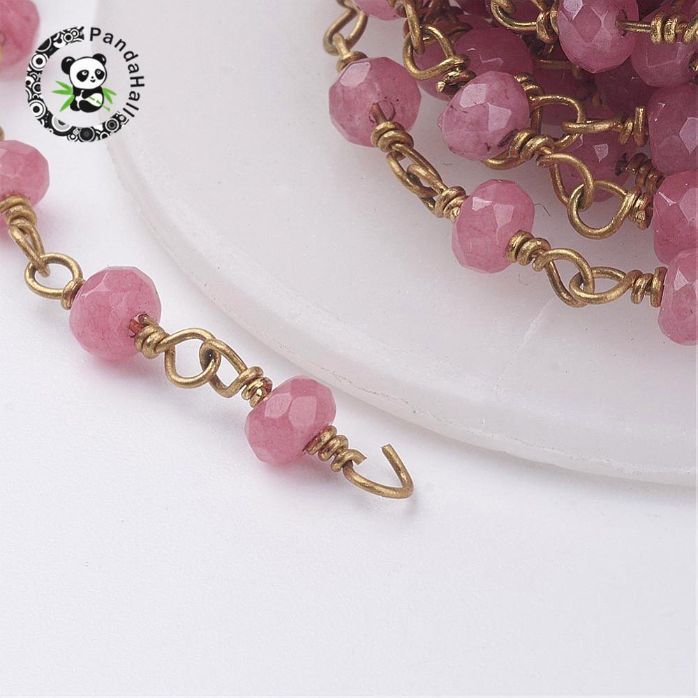 Chaînes perlées faites main en Jade teinté, avec œillets en laiton, non plaqués, 4mm; environ 10 m/rouleau