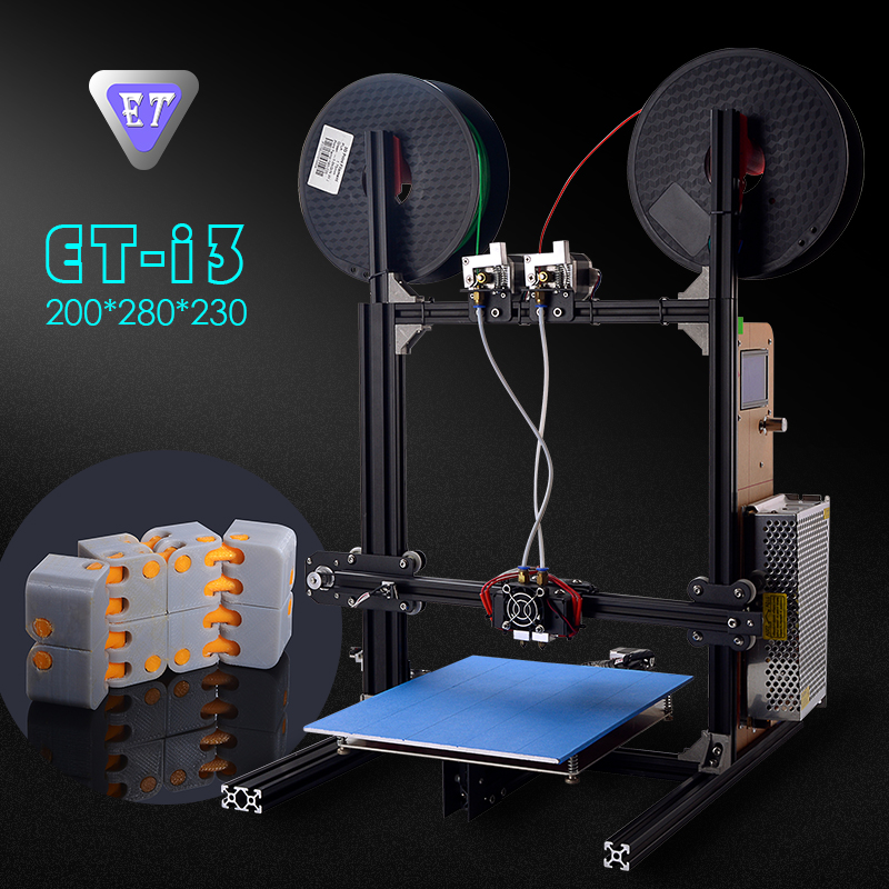 YITE ET-i3 DIY 3d printers Digital 3D Printer High Precision Filament Auto Feeding Metal Frame Dual Nozzle heads Education Use